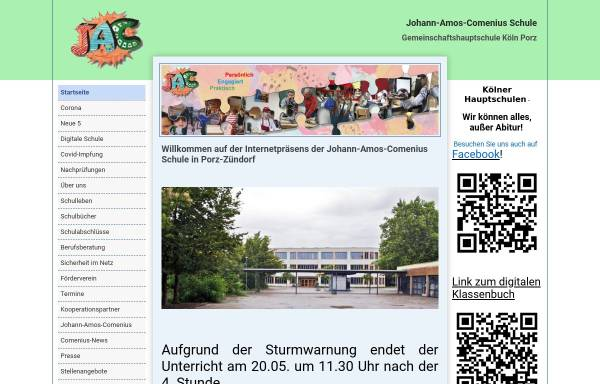 Vorschau von www.jac-koeln.de, Johann-Amos-Comenius Hauptschule
