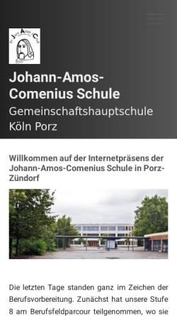 Vorschau der mobilen Webseite www.jac-koeln.de, Johann-Amos-Comenius Hauptschule