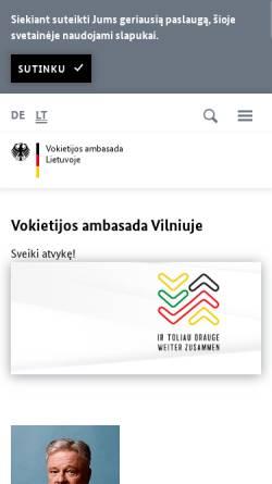 Vorschau der mobilen Webseite www.wilna.diplo.de, Litauen, deutsche Botschaft in Wilna