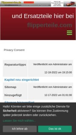 Vorschau der mobilen Webseite www.flipperservice.de, Litfin - Spielautomaten - Inh. Hartmut Litfin