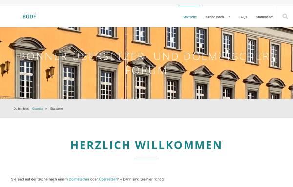 Vorschau von www.uebersetzerforum-bonn.de, Bonner Übersetzer- und DolmetscherForum by Gustav Kaminski