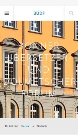 Vorschau der mobilen Webseite www.uebersetzerforum-bonn.de, Bonner Übersetzer- und DolmetscherForum by Gustav Kaminski