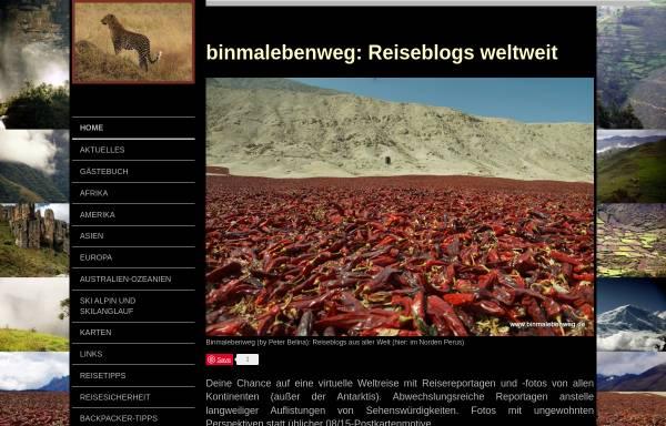 Vorschau von www.binmalebenweg.de, Binmalebenweg - Reisereportagen und -fotos aus der ganzen Welt