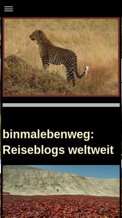 Vorschau der mobilen Webseite www.binmalebenweg.de, Binmalebenweg - Reisereportagen und -fotos aus der ganzen Welt