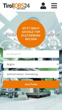 Vorschau der mobilen Webseite tiroljobs24.at, TirolJobs24
