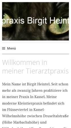 Vorschau der mobilen Webseite tierarztpraxis.b-heintel.de, Birgit Heintel