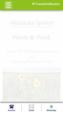 Vorschau der mobilen Webseite worte-und-musik.de, Alexandra Spieker