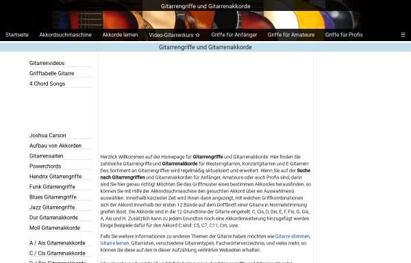 Vorschau von www.onlinegitarrengriffe.de, Gitarrengriffe und Gitarrenakkorde