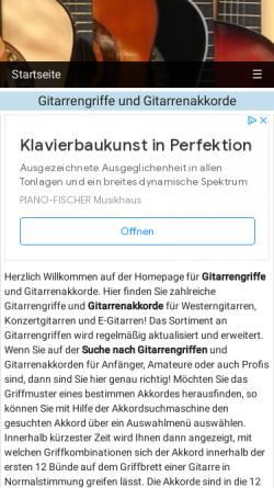 Vorschau der mobilen Webseite www.onlinegitarrengriffe.de, Gitarrengriffe und Gitarrenakkorde