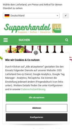 Vorschau der mobilen Webseite www.suppenhandel.de, Suppenhandel.de, Mangstl GmbH