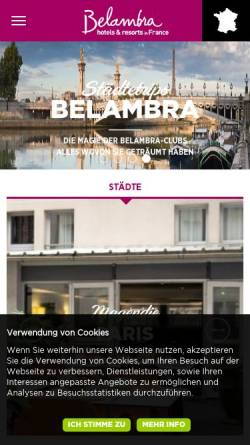 Vorschau der mobilen Webseite www.belambra.de, Belambra Clubs
