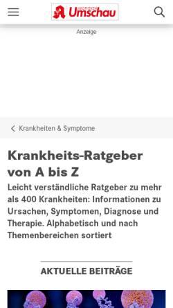 Vorschau der mobilen Webseite www.apotheken-umschau.de, Apotheken Umschau: Krankheiten im Überblick