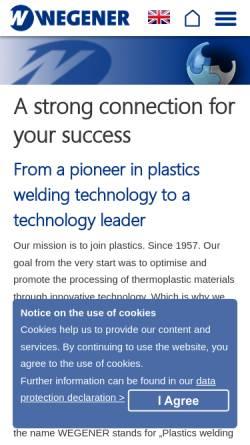 Vorschau der mobilen Webseite www.wegenerwelding.de, Wegener GmbH