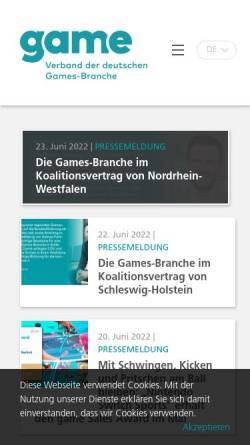 Vorschau der mobilen Webseite www.game.de, G.A.M.E. Bundesverband der Entwickler von Computerspielen e.V.