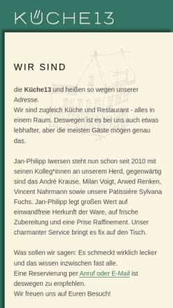 Vorschau der mobilen Webseite www.kueche13.de, Küche 13