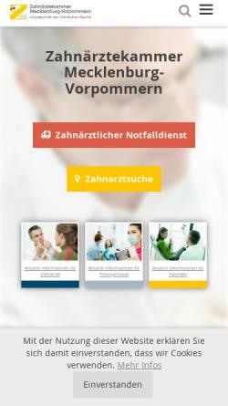 Vorschau der mobilen Webseite www.zaekmv.de, Zahnärztekammer Mecklenburg-Vorpommern