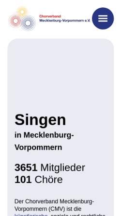 Vorschau der mobilen Webseite www.chorverband-mv.de, Chorverband Mecklenburg-Vorpommern