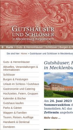 Vorschau der mobilen Webseite gutshaeuser.de, Gutshäuser und Schlösser in Mecklenburg-Vorpommern