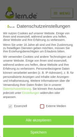 Vorschau der mobilen Webseite lern.de, lern.de Bildungsgesellschaft mbH