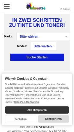 Vorschau der mobilen Webseite www.inkoust24.de, Handelsagentur Silhan GmbH