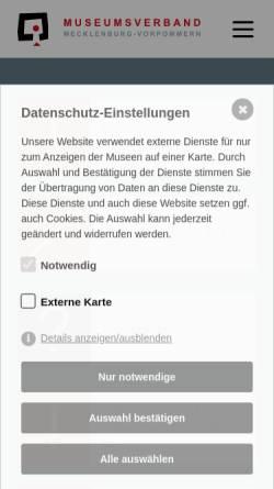 Vorschau der mobilen Webseite www.museumsverband-mv.de, Museumsverband in Mecklenburg-Vorpommern e.V.