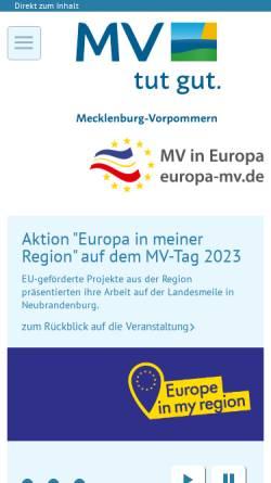Vorschau der mobilen Webseite www.europa-mv.de, EU-Portal für MV