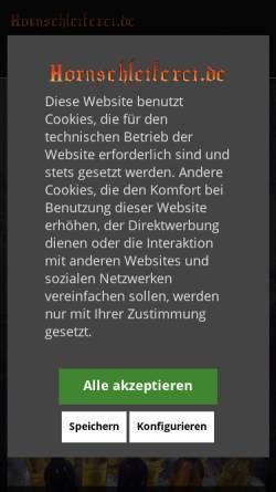 Vorschau der mobilen Webseite www.hornschleiferei.de, Hornschleiferei Frederick Range