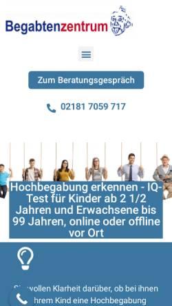 Vorschau der mobilen Webseite www.begabtenzentrum.de, Begabtenzentrum Diana Haese
