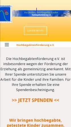 Vorschau der mobilen Webseite www.hbf-ev.de, Hochbegabtenförderung e.V.