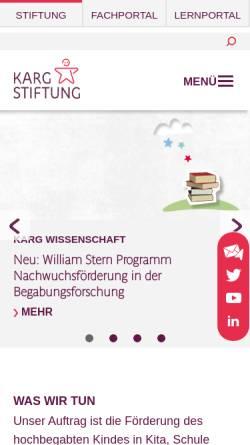 Vorschau der mobilen Webseite www.karg-stiftung.de, Karg-Stiftung