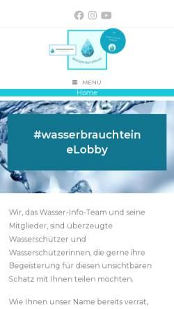 Vorschau der mobilen Webseite www.wasser-bayern.de, Wasser-Bayern - Wasser-Info-Team Bayern e. V