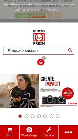 Vorschau der mobilen Webseite www.preim.de, Photo Preim GmbH