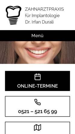 Vorschau der mobilen Webseite www.durali-mosch.de, Zahnarztpraxis am Landgericht Dr. Durali & Mosch