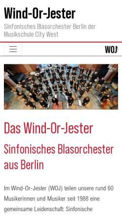 Vorschau der mobilen Webseite woj-berlin.de, Wind-Or-Jester - Sinfonisches Blasorchester Berlin
