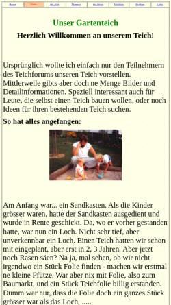 Vorschau der mobilen Webseite www.helmut-wick.de, Unser Gartenteich, Helmut Wick