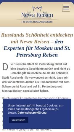 Vorschau der mobilen Webseite www.st-petersburg-reisen.com, Newa Reisen