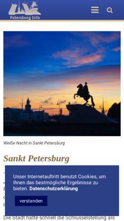 Vorschau der mobilen Webseite www.petersburg-info.de, St. Petersburg Reiseführer