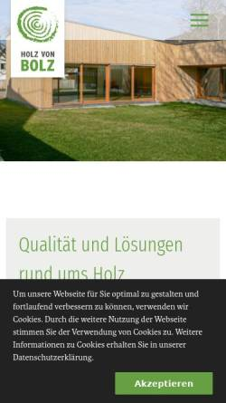 Vorschau der mobilen Webseite www.holz-von-bolz.de, Holz von Bolz - Hobelwerk - Schreinerei