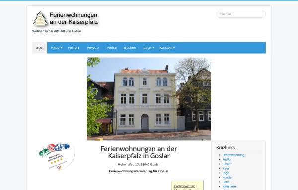 Vorschau von www.ferienwohnung-goslar-fewo.de, Ferienwohnung an der Kaiserpfalz in Goslar