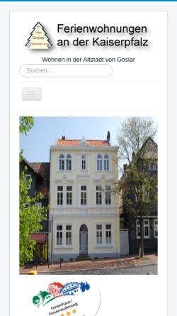 Vorschau der mobilen Webseite www.ferienwohnung-goslar-fewo.de, Ferienwohnung an der Kaiserpfalz in Goslar
