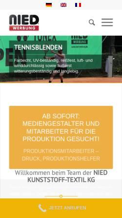 Vorschau der mobilen Webseite www.nied-werbung.de, Nied Kunststoff-Textil KG