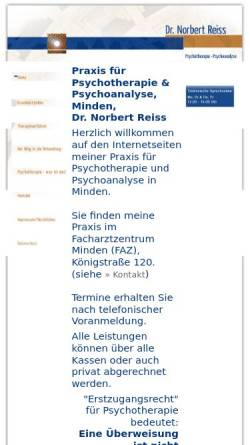Vorschau der mobilen Webseite www.dr-reiss-psychotherapie.de, Dr. Norbert Reiss