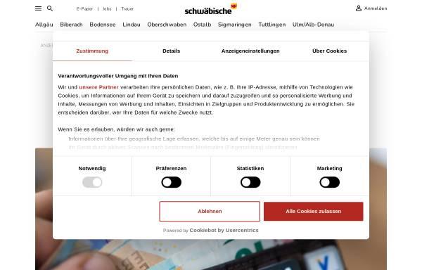Vorschau von www.schwaebische.de, Schwäbische Zeitung