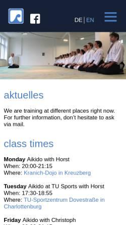 Vorschau der mobilen Webseite www.berlinaikido.de, Aikido an der TU Berlin