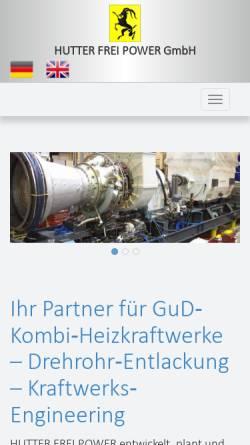 Vorschau der mobilen Webseite www.hutter-frei.com, Hutter Frei Power Generation GmbH