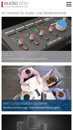 Vorschau der mobilen Webseite www.audiopro.de, Audio Pro Heilbronn Elektroakustik GmbH