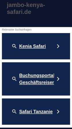 Vorschau der mobilen Webseite www.jambo-kenya-safari.de, www.jambo-kenya-safari.de [Birgitt Lokan und Joachim Zbrug]