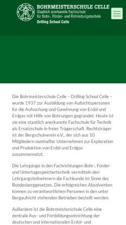 Vorschau der mobilen Webseite www.bohrmeisterschule.de, Bohrmeisterschule Celle