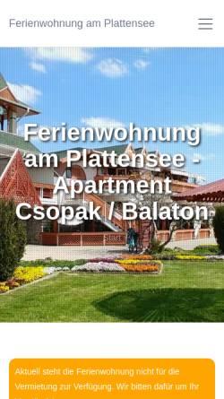 Vorschau der mobilen Webseite www.ferienwohnung-am-plattensee.de, Ferienwohnung Plattensee