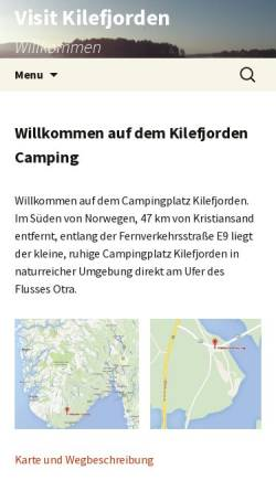 Vorschau der mobilen Webseite www.kilefjorden.com, Evje und Kilefjorden Camping.
